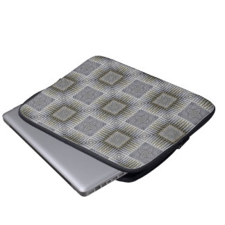 レトロの金属銀製の装飾的な正方形パターン ラップトップスリーブ