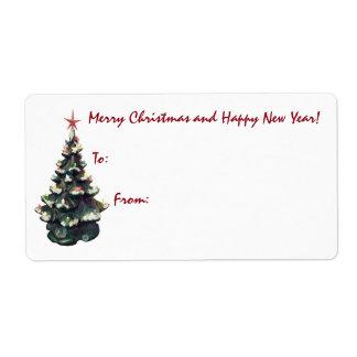 レトロの陶磁器のクリスマスツリー ラベル
