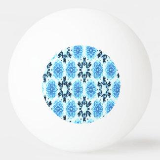 レトロの雪片の青の花柄 卓球ボール