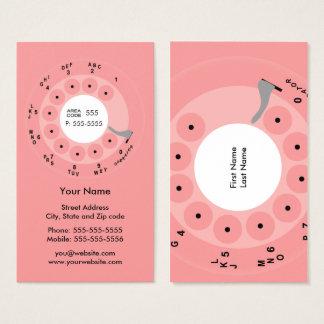 レトロの電話ピンクのビジネスまたはプロフィールカード 名刺
