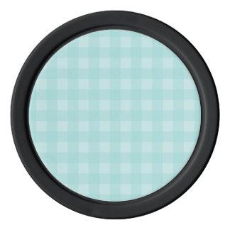 レトロの青いギンガムチェック模様のパターン背景 カジノチップ