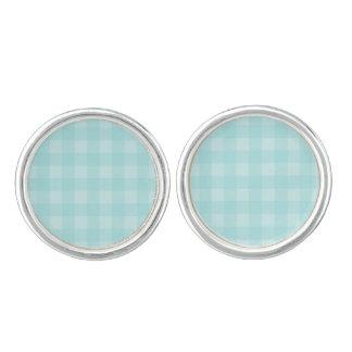 レトロの青いギンガムチェック模様のパターン背景 カフボタン