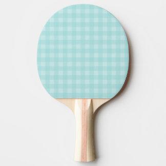 レトロの青いギンガムチェック模様のパターン背景 卓球ラケット