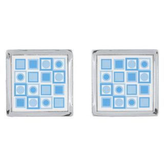 レトロの青いパターンデザイナーカフスボタン シルバー カフスボタン
