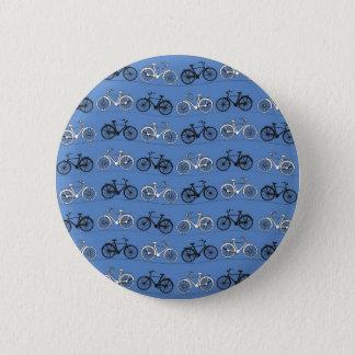 レトロの青い自転車パターン 缶バッジ