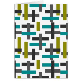 レトロの青い、緑、灰色の抽象芸術 グリーティングカード