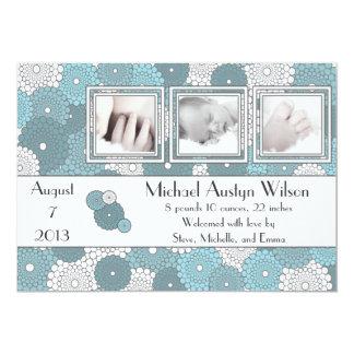 レトロの青色児の誕生の発表 カード