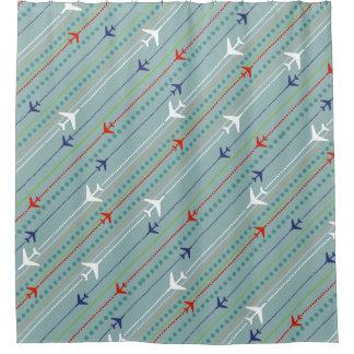 レトロの飛行機パターンシャワー・カーテン シャワーカーテン