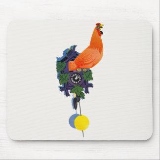 レトロの鶏の鳴き声鳴き声の時計のオンドリの時間ヴィンテージ マウスパッド