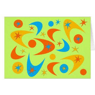 レトロの黄橙色及び水のスターバストのブーメラン カード