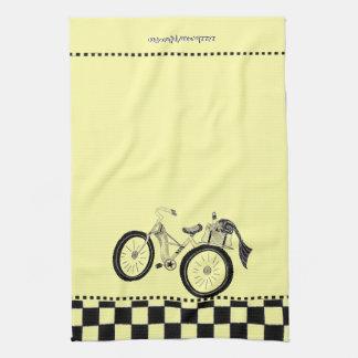 レトロの黄色いピクニック自転車 キッチンタオル