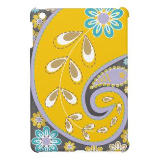 レトロの黄色いペイズリーのモチーフのカスタム iPad MINIケース