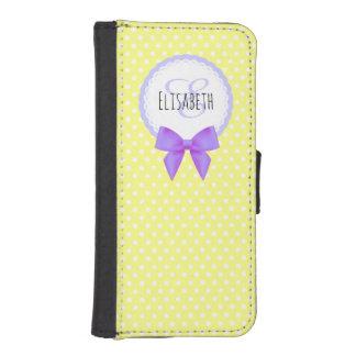 レトロの黄色い水玉模様の紫色の弓モノグラム 手帳型 IPHONE5ケース