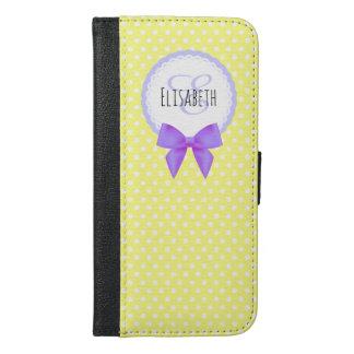 レトロの黄色い水玉模様の紫色の弓モノグラム iPhone 6/6S PLUS ウォレットケース