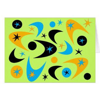 レトロの黄色い黒及び水のスターバストのブーメラン カード