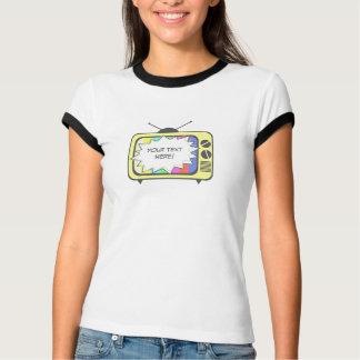 レトロの黄色のテレビ Tシャツ