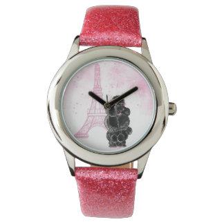 レトロの黒いプードルのピンクのエッフェル塔 腕時計