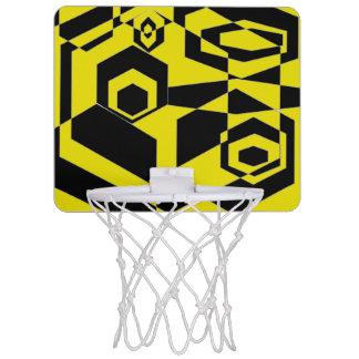 レトロの黒くおよび黄色の抽象芸術 ミニバスケットボールゴール