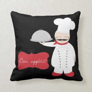 レトロの黒く赤く及び白いシェフの糖菓Appetit! クッション