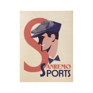 レトロの20年代のスタイルのイタリアンな人のスポーツはADVを作ります ウッドポスター