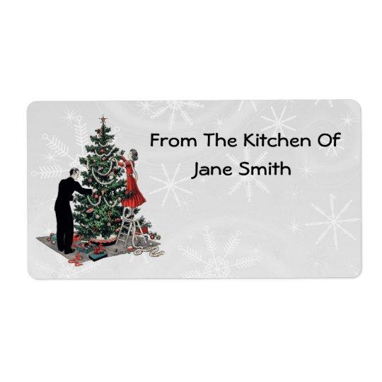 レトロの40年代のクリスマスツリーの台所ラベル 発送ラベル