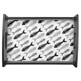レトロの50年代のシーフードのレストランの魚の骨パターン トレー