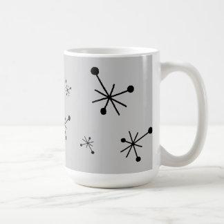 レトロの50年代の原子スターバストの灰色及び黒いマグ コーヒーマグカップ