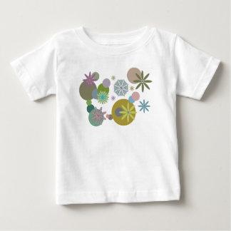 レトロの60年代の素晴しい花および点のTシャツ ベビーTシャツ