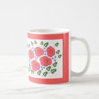 レトロの70年代の花柄のマグ コーヒーマグカップ