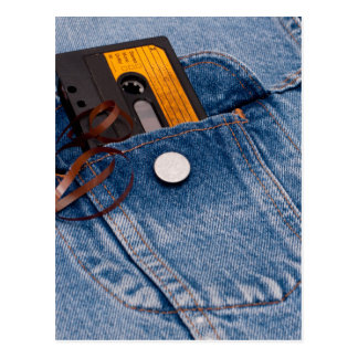 レトロの80年代のデザイン-オーディオ・カセットテープテープ ポストカード