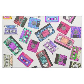 レトロの80年代の90年代のネオンパターン(の模様が)あるなカセットテープ ファブリック