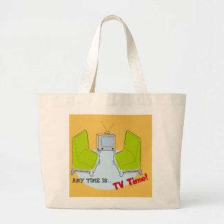 """レトロの""""TV時間!""""の 設計 ラージトートバッグ"""
