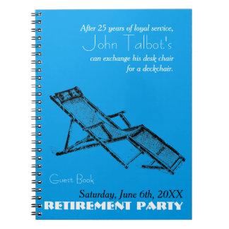 レトロのDeckchairの退職パーティーの青い来客名簿2 ノートブック