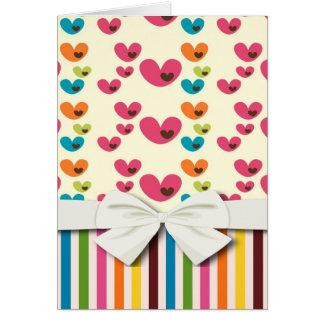 レトロのlollyのバレンタイン愛ハートは縞で飾り、 カード