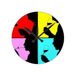 レトロのPopArtの時計のヴィンテージ4のステップワインの試飲 ラウンド壁時計