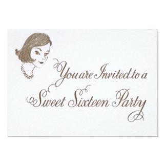 レトロのSweet sixteenの招待 12.7 X 17.8 インビテーションカード
