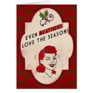 レトロスタイルの異教の休日カード カード