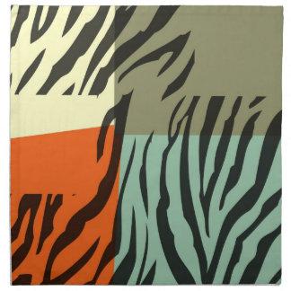 レトロパターンシマウマのポップアートのナプキン ナプキンクロス