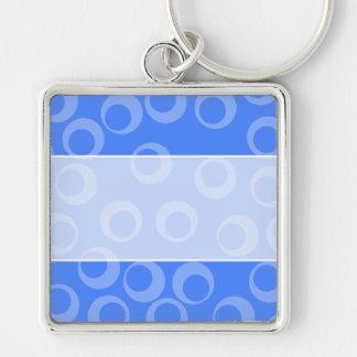 レトロパターン。 青の円のデザイン キーホルダー