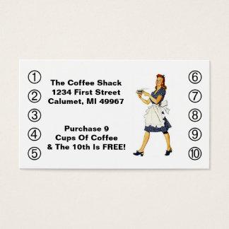 レトロビジネスパンチカードのダイナーの幸せなウェートレス 名刺