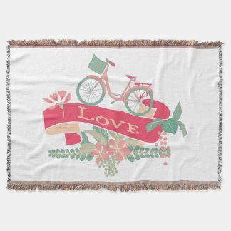 レトロ愛自転車の花柄の旗 スローブランケット