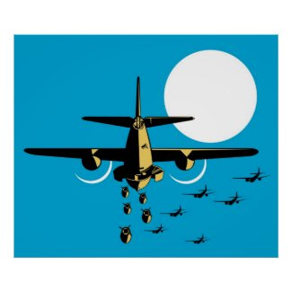 レトロ第二次世界大戦の爆撃機の飛行機の低下の爆弾 プリント