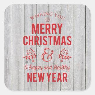 レトロ素朴な木製のメリークリスマスのステッカーに署名して下さい スクエアシール