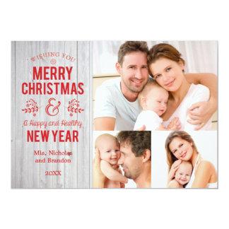 レトロ素朴な木製のメリークリスマスカードに署名して下さい カード