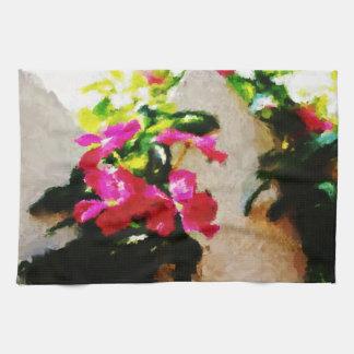 レトロ色の抽象的な絵画 キッチンタオル