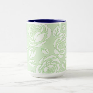 レトロ花柄(c)淡い色のなGreen_NAVY-Inside-Unisex マグカップ