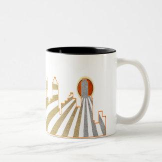 レトロ都市サンディエゴのポップアート ツートーンマグカップ
