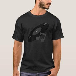 レトロ音楽記録及びノートの黒 Tシャツ