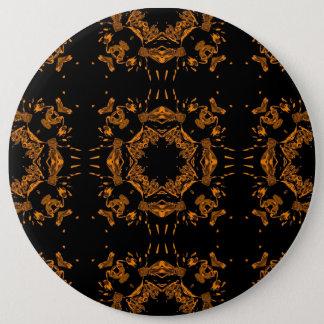 レトロ黒く、黄色の銅の花のダマスク織 缶バッジ