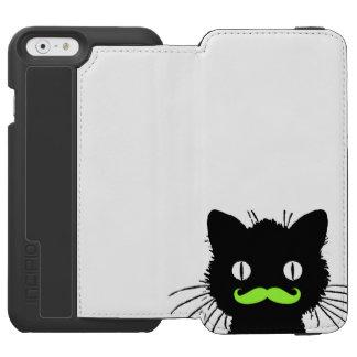 レトロ黒猫のおもしろいなライムグリーンの髭 INCIPIO WATSON™ iPhone 5 財布型ケース